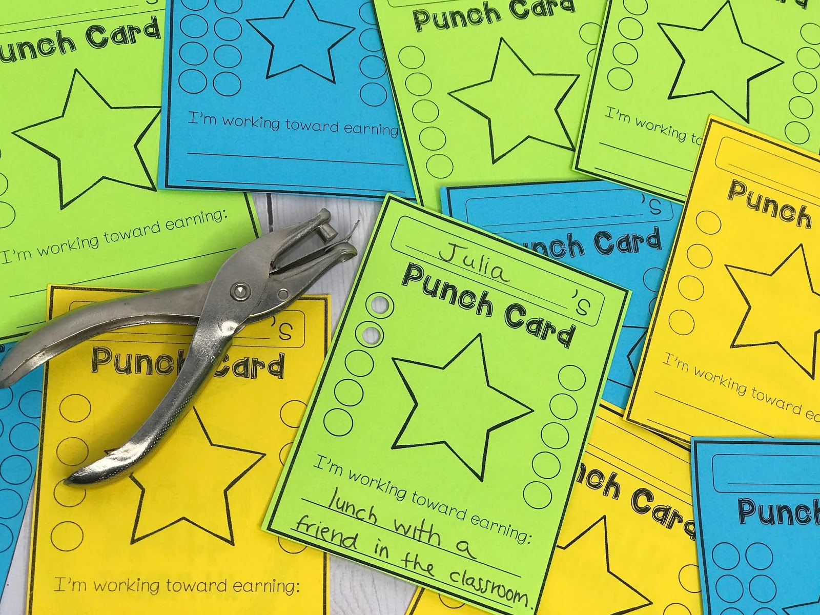 Punch cards are a great way to reward students for positive behavior