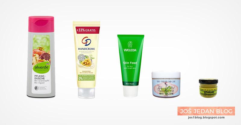 Alverde gel za tuširanje, CD krema za ruke sa pasjim trnom, Diva prirodna kozmetika Herbasalve, Weleda Skin Food, Diva prirodna kozmetika Sheer Velvet piling za telo, prirodna kozmetika, recenzija, utisci
