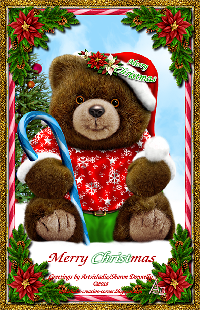 Christmas Teddy art by/copyrighted to Artsieladie