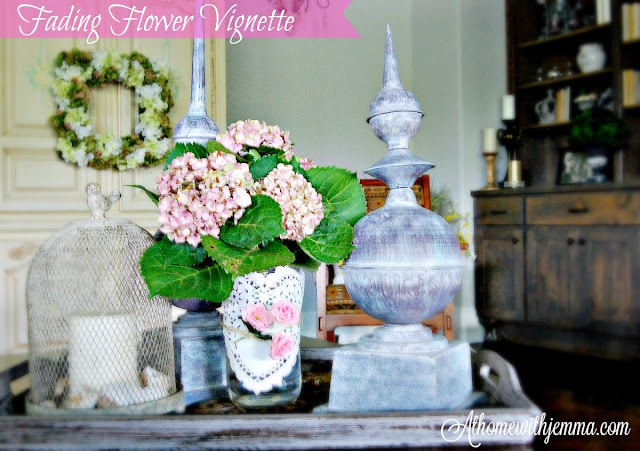 wood tray, seashells, candle, birdcage, doily, hydrangeas