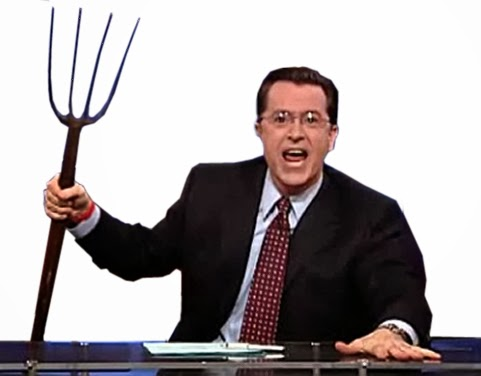 Stephen Colbert takes up a pitch fork for the Leader v. Facebook judicial corruption scandal