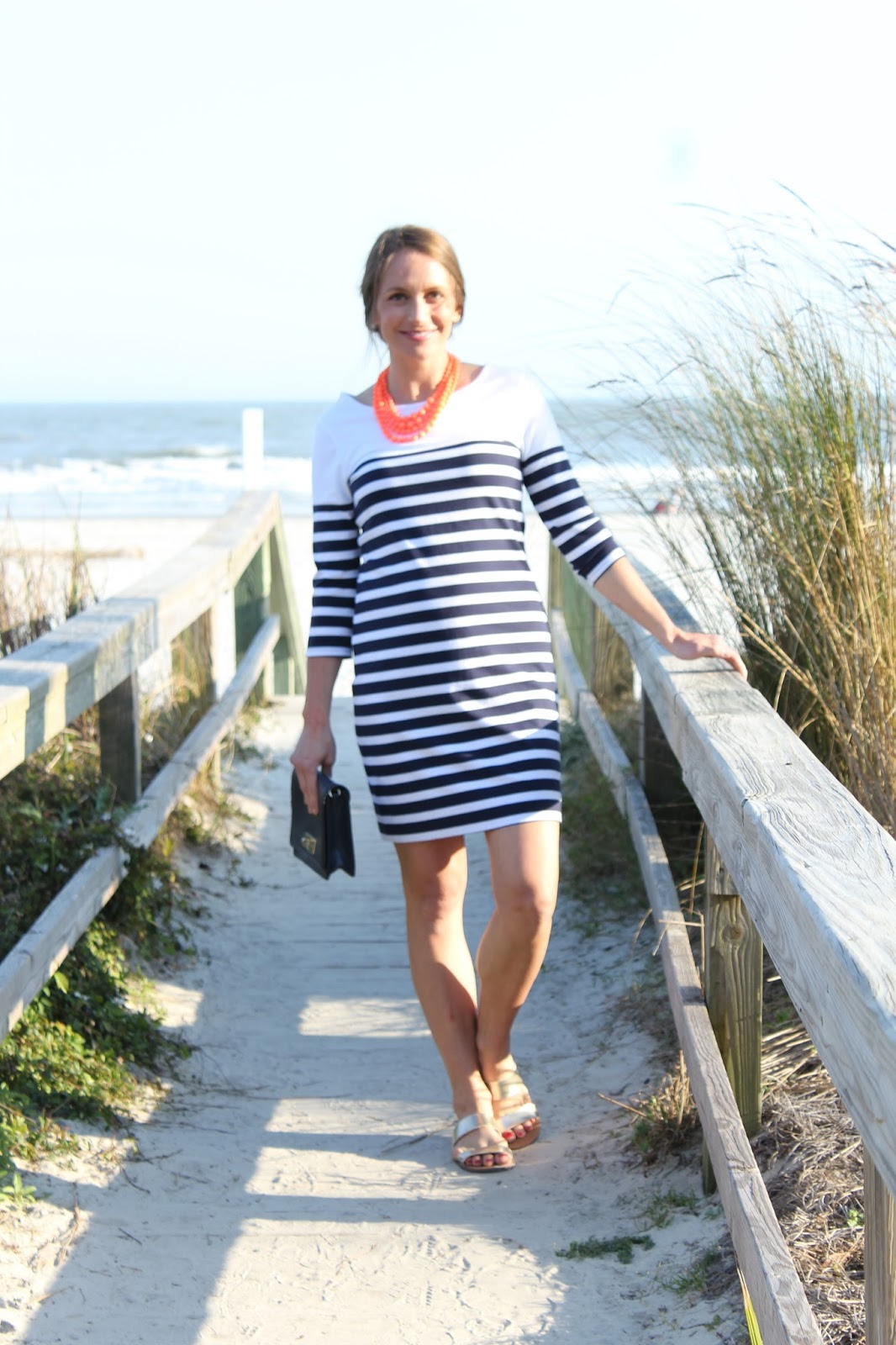 a40aca00fc2 Striped Dress with a pop of Persimmon