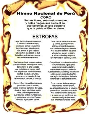 Imagen con el Himno Nacional Peruano a color