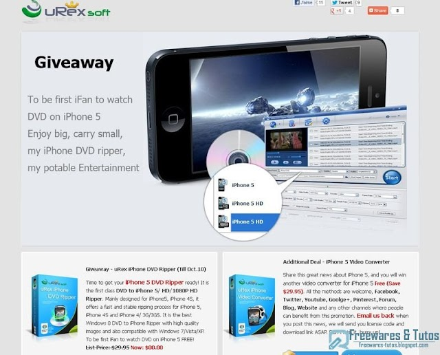 Offre promotionnelle : uRex iPhone DVD Ripper gratuit !