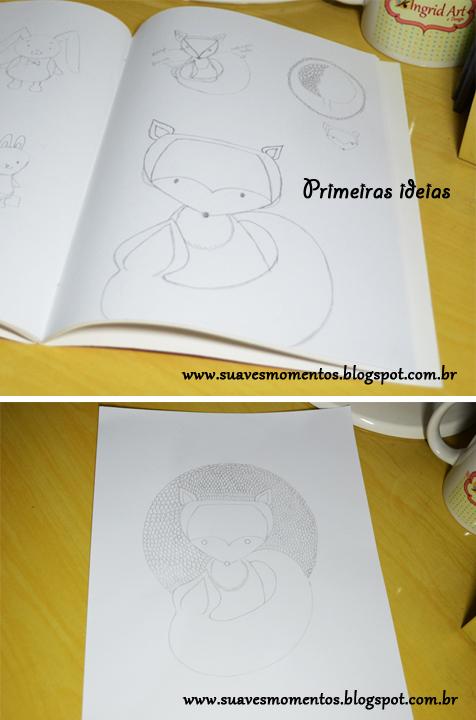 ilustração no sketchbook