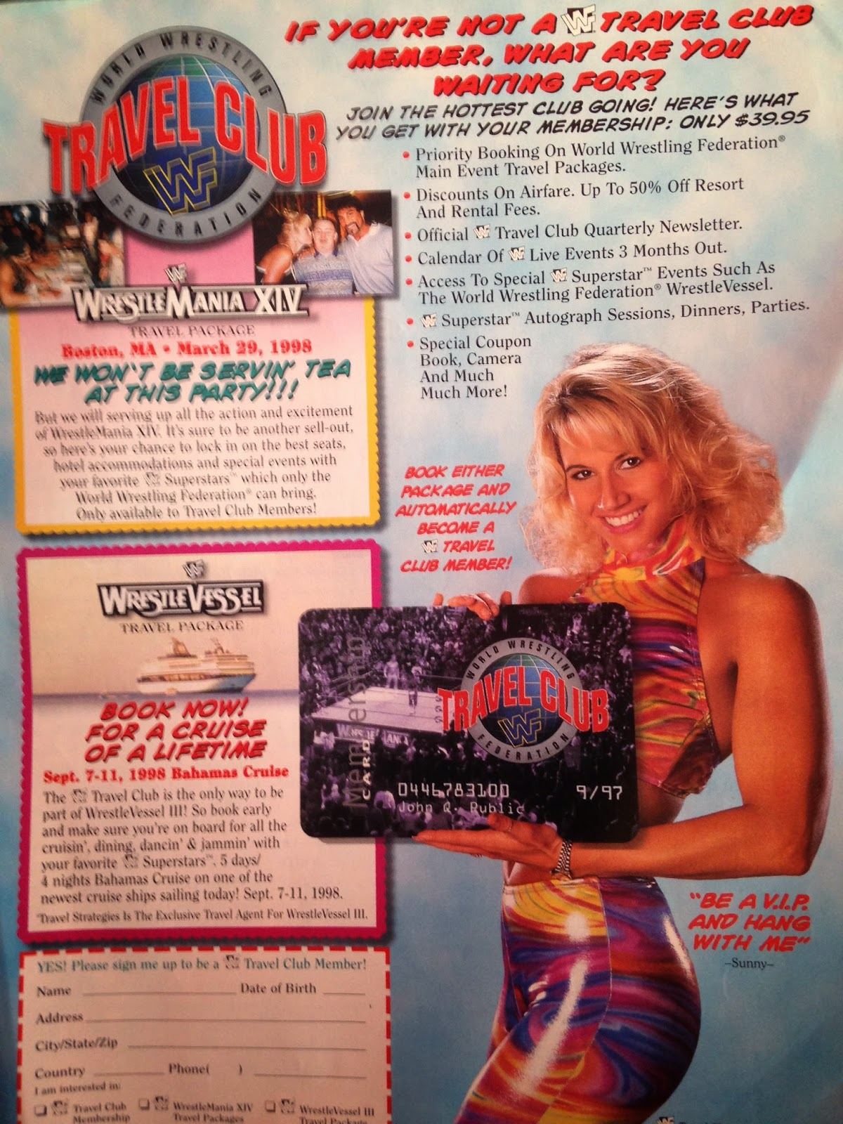 WWE: WWF RAW MAGAZINE - January 1998 - Sunny promotes the WWE travel club
