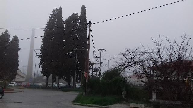 Πρωινή ομίχλη στον Σταθμό Κατερίνης.