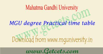 MGU degree practical timetable 2018 Pdf