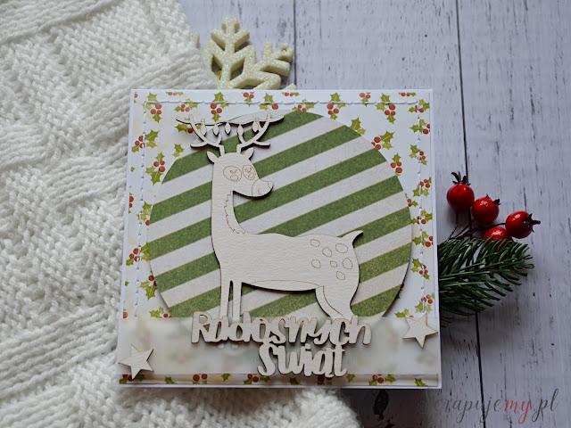 kartka z reniferem, zielona kartka świąteczna, kartka boże narodzenie, kartka święta