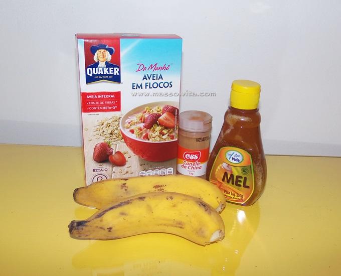 Banana, aveia, mel e canela