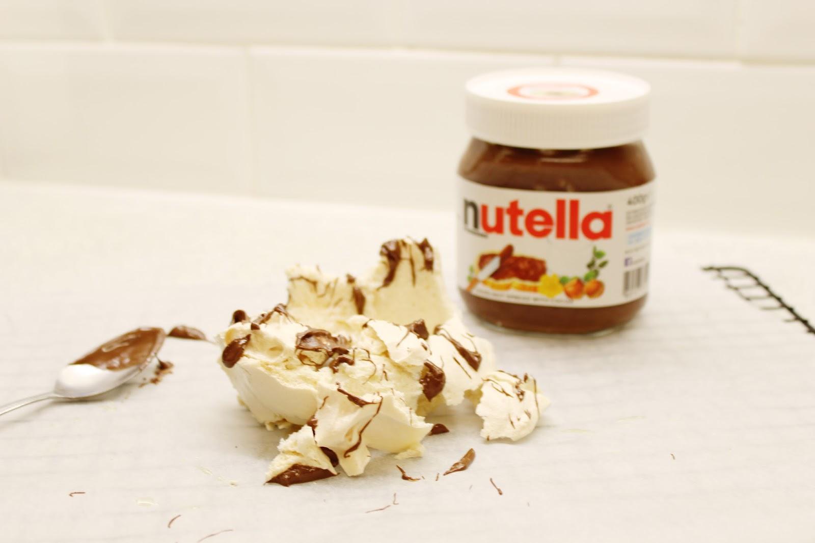 Freshly baked, homemade Mary Berry meringue recipe with Nutella