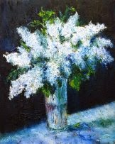 original oil painting on canvas White Lilac on a Blue Tablecloth