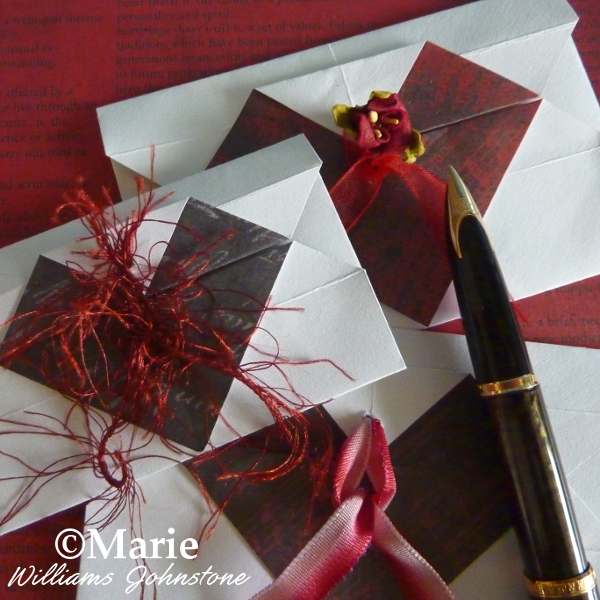 Handmade DIY paper folded origami heart design envelopes instructions tutorial