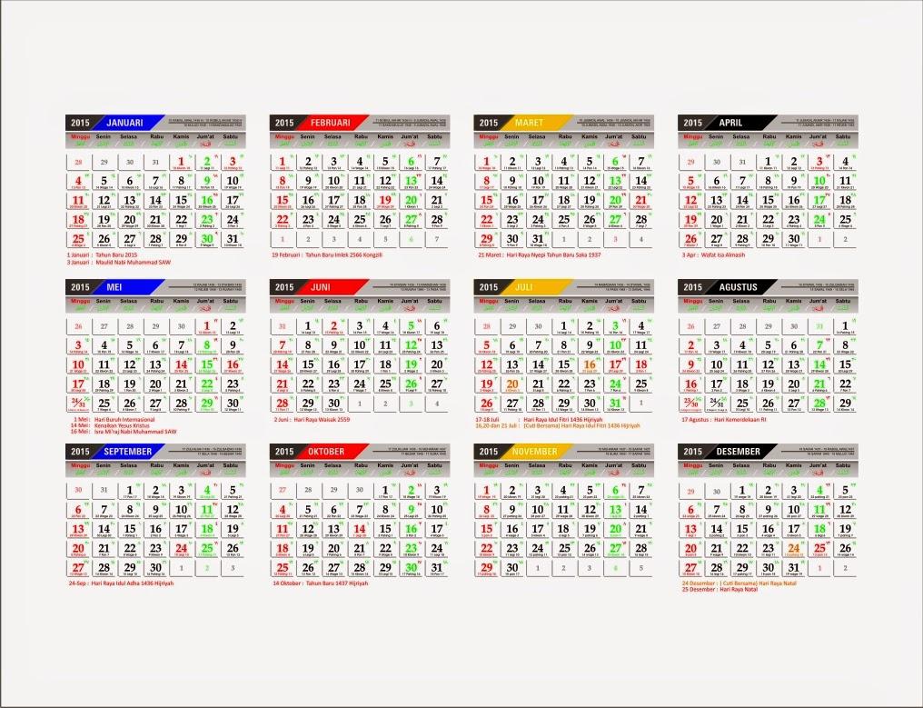 Download Kalender 2015 lengkap disertai penaggalan Jawa