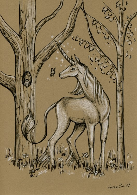 08-Last-Unicorn-Lucie-Ondruskova-LucieOn-A-Glimpse-of-Fairyland-Animals-in-Drawings-www-designstack-co
