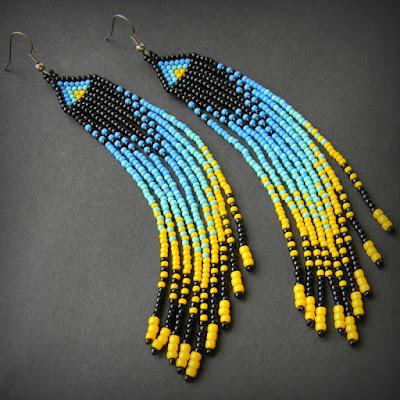 купить Яркие длинные серьги в этническом стиле. Необычные серьги из бисера с бахромой