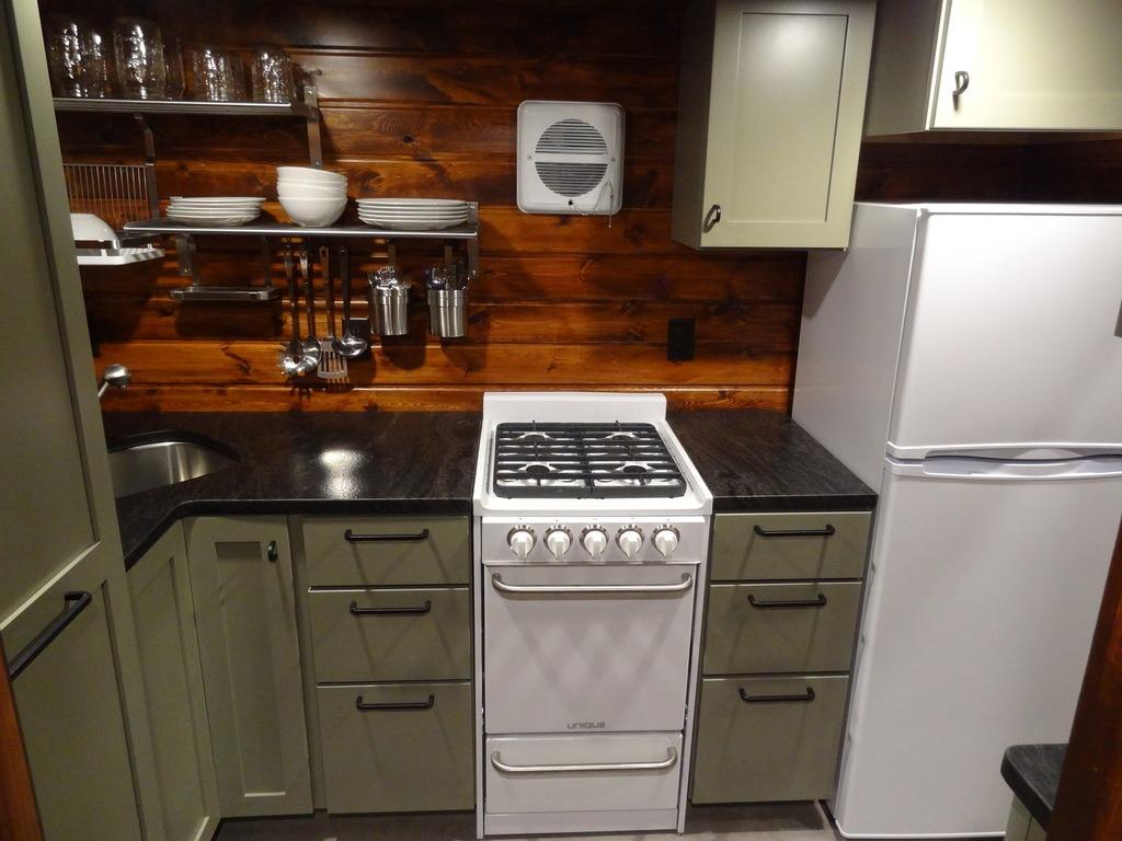 Tiny Kitchen Appliances Cottage Cabinets House Town Casper Cabin 333 Sq Ft