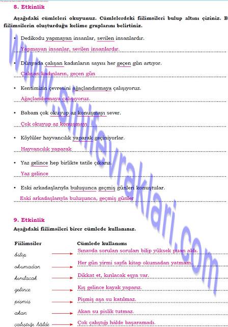 Dörtel Yayınları 8. Sınıf Türkçe Çalışma Kitabı Cevapları Sayfa 47