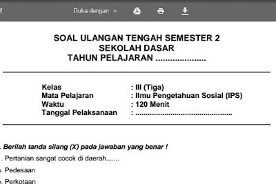 Soal Latihan UTS IPS Kelas 3 SD/MI Semester 2