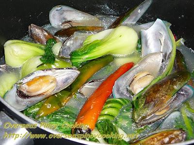 Tinolang Tahong at Pechay - Cooking Procedure