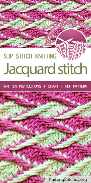 #KnittingStitches -- Free stitch pattern. The Art of Slip-Stitch Knitting, knit Zig Zag Jacquard Stitch, mosaic slip-stitch colorwork pattern #knitting #knittingpattern