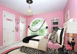 Habitación color rosa y negro