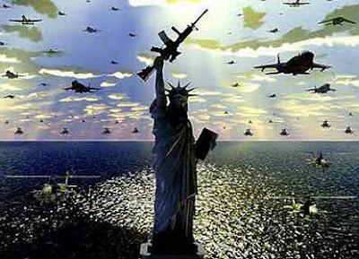 Estátua da Liberdade com arma na mão e vários aviões de combate