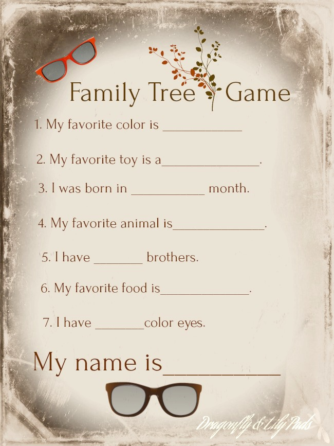 Family Tree Game for the 6th day of Christmas Blog Hop