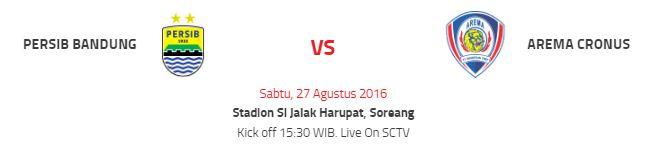 Prediksi Persib Bandung vs Arema Cronus - Siaran Langsung SCTV Sabtu 27 Agustus 2016