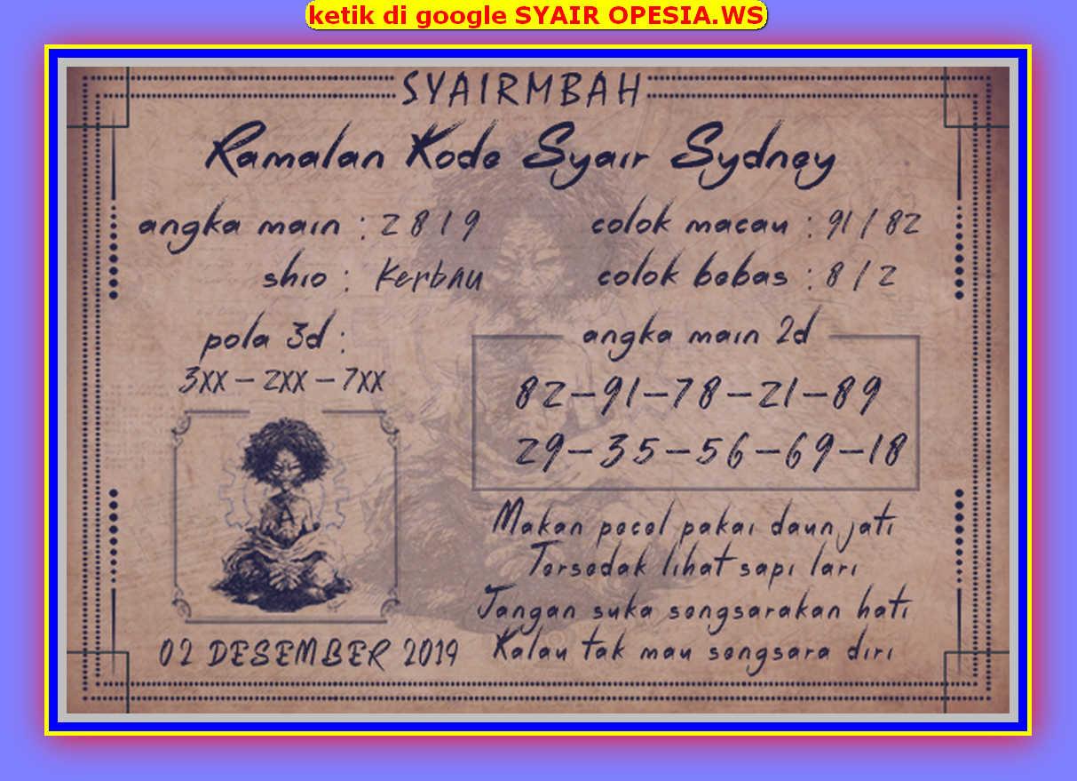 Kode syair Sydney Senin 2 Desember 2019 69
