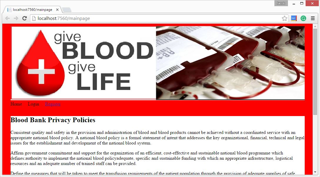 Blood bank System project in ASP.NET C#