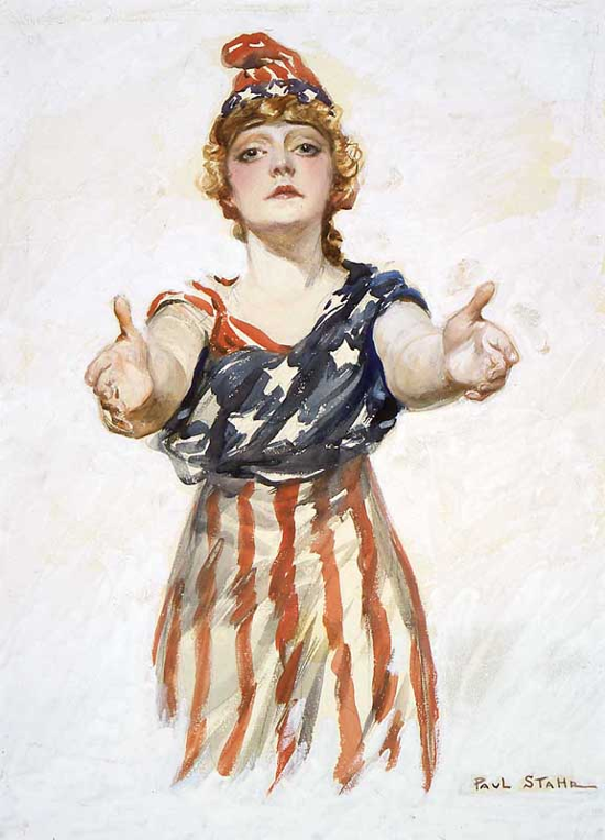 "Columbia reaching out to viewer. Original design for the ""Be Patriotic"" poster by Paul Stahr (ca. 1917-18)"