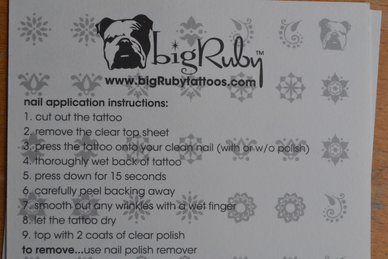 instructions for how to use bigRuby Nail Tattoos