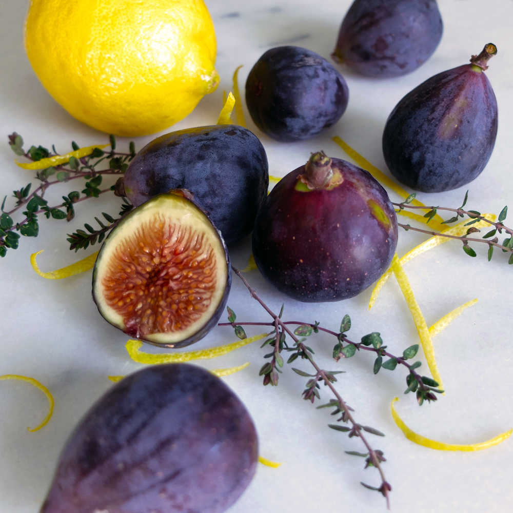 Mission figs, Meyer lemons, and thyme.