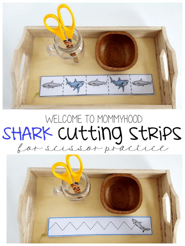 Montessori activities: Shark themed cutting strips by Welcome to Mommyhood #montessori, #montessoriactivities