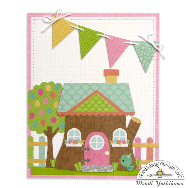 Doodlebug Design Easter Express Tree House Card by Mendi Yoshikawa