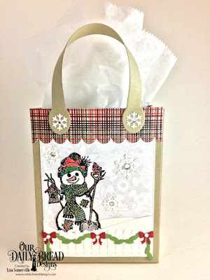 Our Daily Bread Designs Stamp/Die Duos: White as Snow, Custom Dies: Card Caddy & Gift Bag, Gift Bag Handles & Topper, Snow Crystals, Christmas Door Greenery, Fence, Pierced Rectangles, Curvy Slopes, Paper Collections: Christmas 2013, Christmas 2017