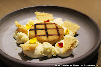 Passion Fruit, Grilled Financier, Jasmine Mascarpone, Honeycomb at Mume in Taiwan