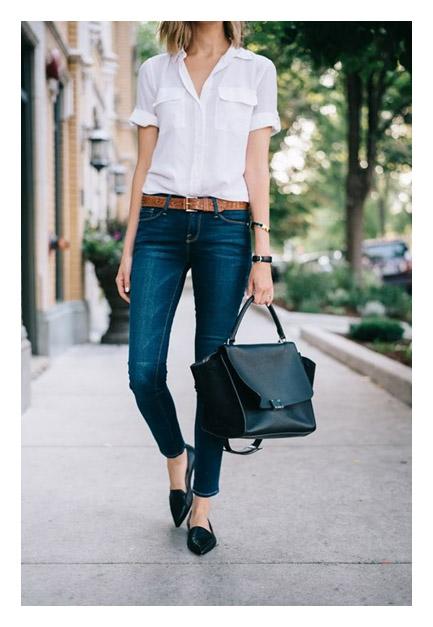 Джинсы + белая рубашка + черные туфли и сумка заостренной формы
