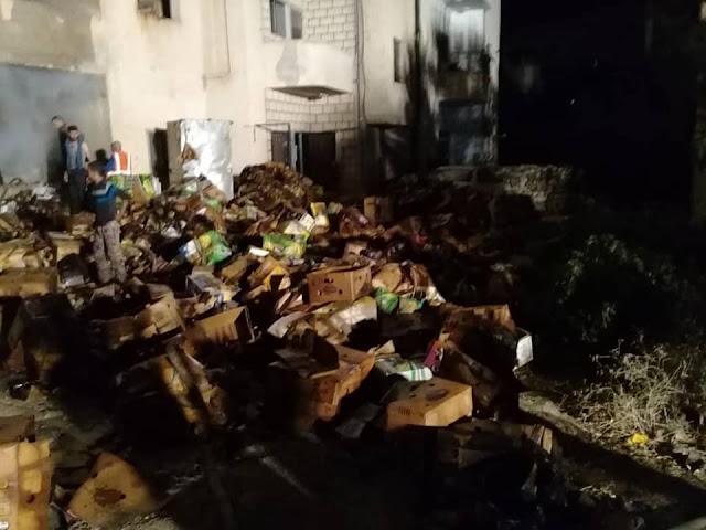 اخماد حريق كبير بجانب مدرسة الكرامة بالسويداء. صور