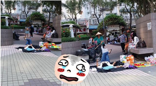 Begitu Pedenya  TKW Ini Tiduran Ditengah Jalan Di taman Yuen Long, Kamu Pernah?