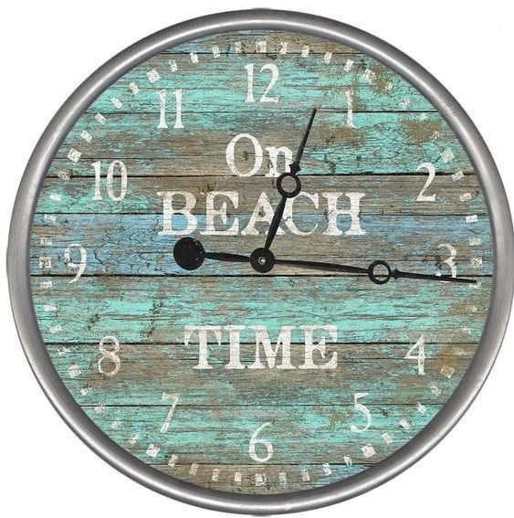 Vintage Style On Beach Time Wall Clock