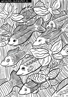 A coloring page of fishes and butterflies / Värityskuva kaloista ja perhosista