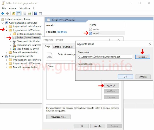 Editor criteri di gruppo locali Windows 10 percorso per selezionare uno script all'arresto del PC