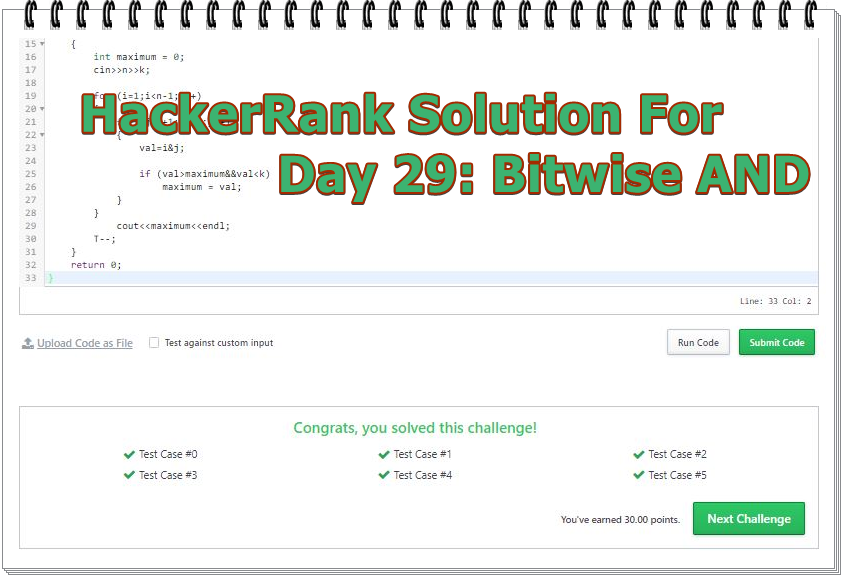 HackerRank Solution For Day 29: Bitwise AND