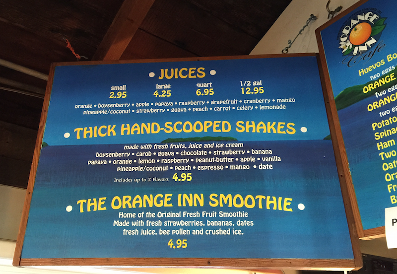 Menu at the Orange Inn in Laguna Beach, CA