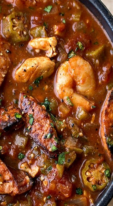 Gumbo-laya stew with spicy sausage, chicken,shrimp and okra over fragnant garlic rice