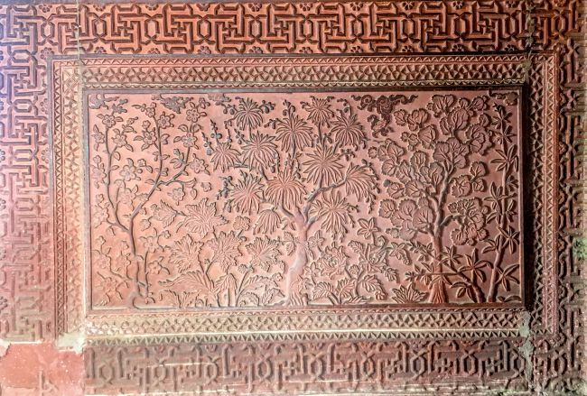 intricately carved panels inside the Ruqayya Begums's Palace