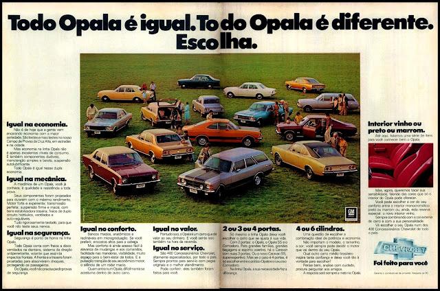 propaganda Opala - 1977.  propaganda anos 70. propaganda carros anos 70. reclame anos 70. Oswaldo Hernandez..