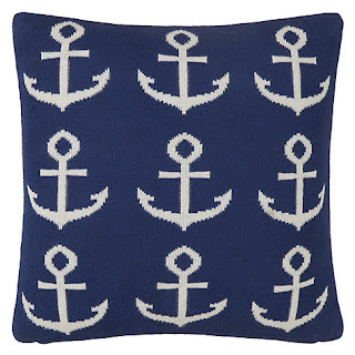 Little At Home John Lewis Anchor Knitted Cushion, Blue